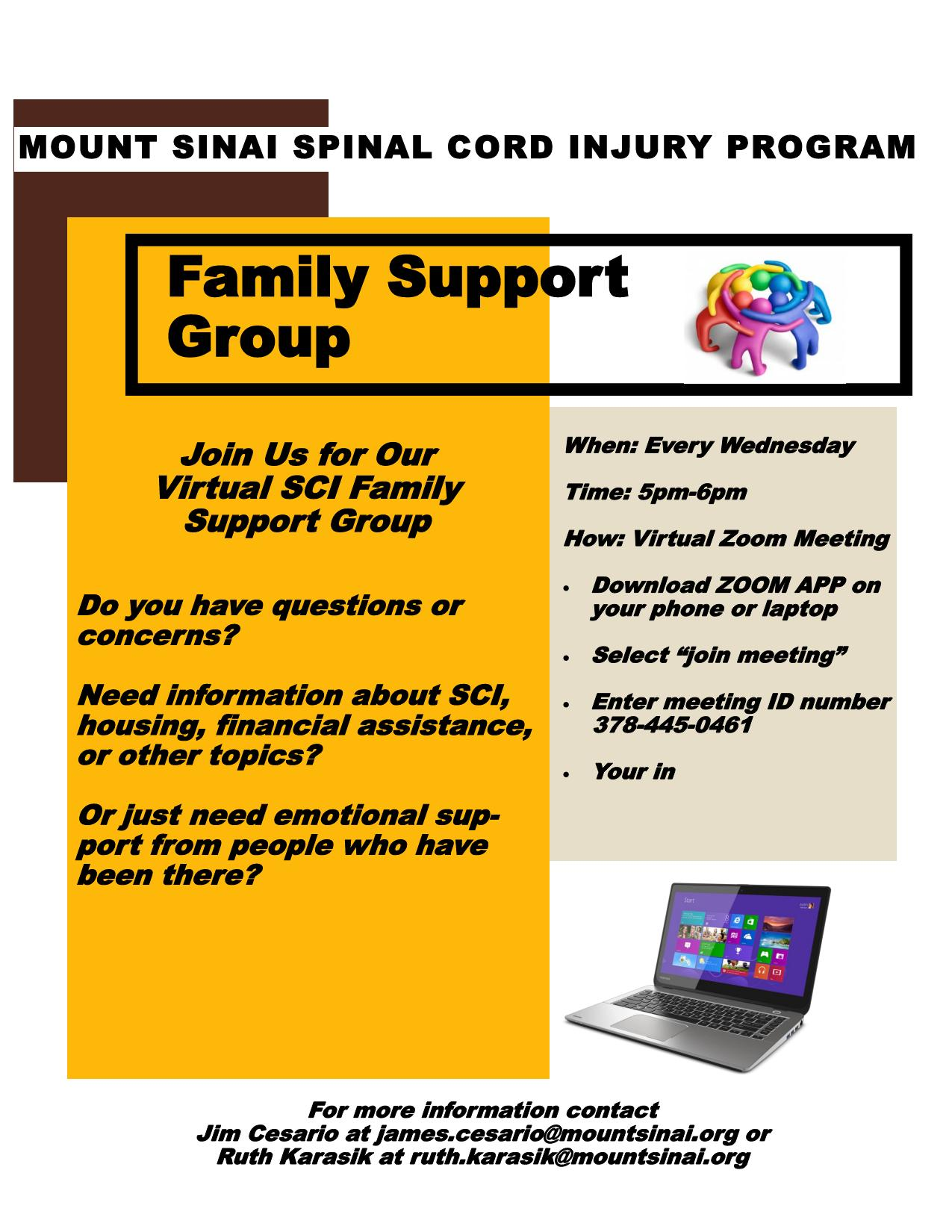 Family Support Group @ ZOOM ID# 378 445 0461