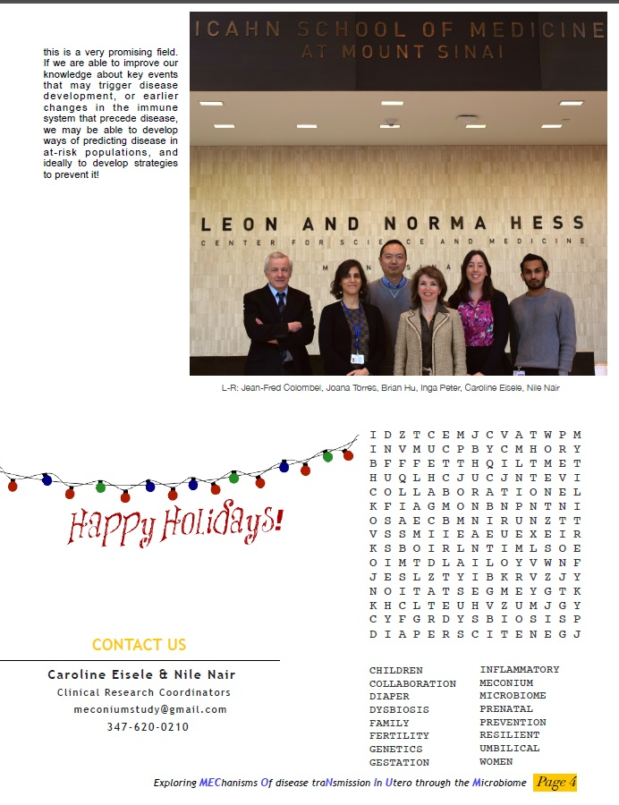 Meconium Study 2016 Holiday Newsletter | Peter Laboratory
