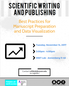 Scientific Writing and Publishing: Best Practices for Manuscript Preparation and Data Visualization @ MSIT Lab - Annenberg 11-46 | New York | New York | United States